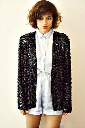 vintage jacket - DIY shorts - vintage blouse