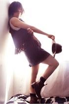 vintage boots - vintage hat - Market vest - Zara skirt