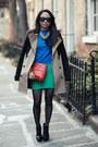 Blue-zara-sweater-carrot-orange-rebecca-minkoff-purse-chartreuse-bcbg-skirt