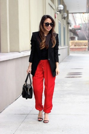 red silk Joie pants - black Helmut Lang blazer - black satchel balenciaga bag