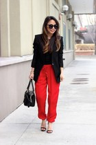 red silk Joie pants - black Helmut Lang blazer - black satchel balenciaga bag