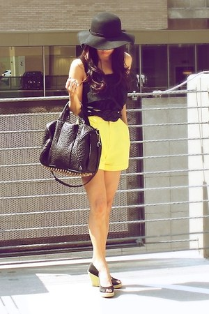 yellow vintage shorts - black Urban Outfitters hat - black Alexander Wang bag