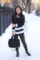 black Nordstrom sweater - black shearling moto Bod and Christensen coat