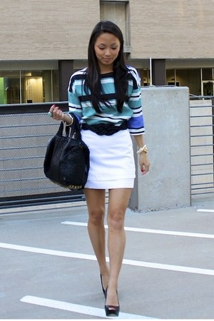 sky blue Zara top - black Alexander Wang bag - white Topshop skirt