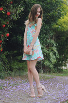 nude LuLus heels - aquamarine floral beginning boutique dress