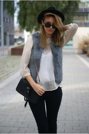 Topshop blouse - H&amp;M jeans - charcoal gray Topshop vest