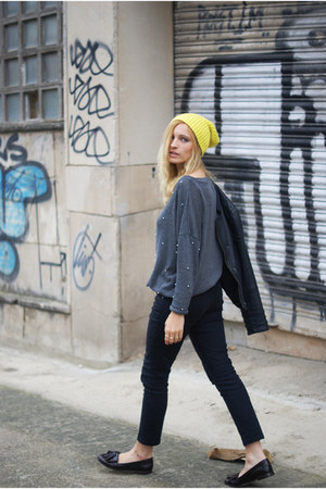 Topshop jeans - yellow H&amp;M hat - romwe jumper - Topshop flats