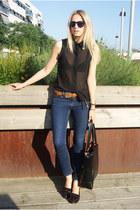 Sheinside blouse - Zara jeans - OASAP bag - Topshop flats - Topshop belt