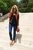Zara jacket - Topshop jeans - Topshop blouse - Minetonka flats