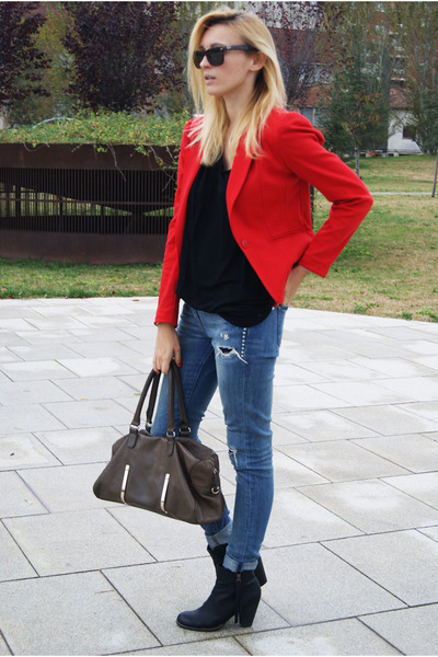 H&M blazer - Nelly boots - Topshop jeans - Zara blouse