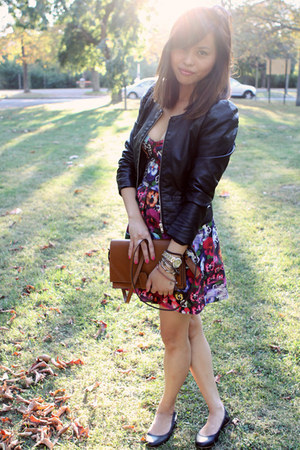 H&M jacket - Topshop dress - Zara bag - Country Road flats - Fossil watch