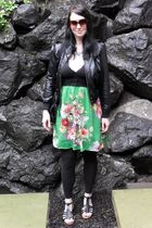 green Hand Made dress - black Old Navy cardigan - black Max Azria jacket - black