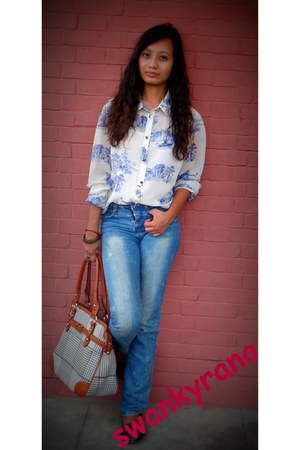 blouse - denim jeans - vintage bag bag - black loafers