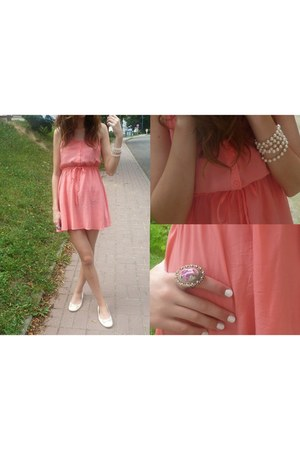 coral H&M dress - cream c&a flats - bubble gum Aldo ring