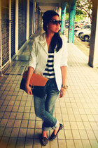 bag - blue jeans - white blazer - gray Forever 21 sunglasses
