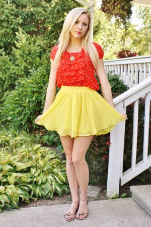 yellow skirt - red polka dot top