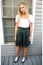 pink shirt - gray skirt - gray