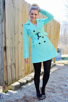 mint trench jacket - black tights - leopard print flats