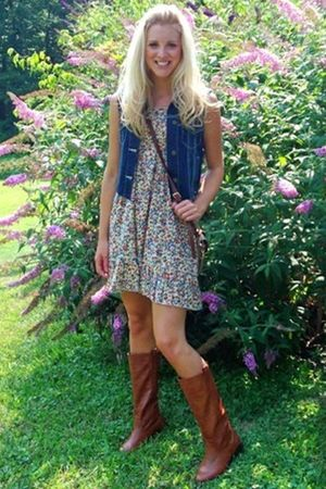 DIY vest - Dooney&amp;Bourke - Forever21 dress - Charlotte Russe boots