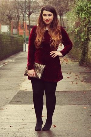 black Primark shoes - ruby red OhMylove dress - bronze Ebay bag