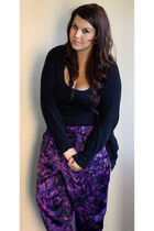 black Primark cardigan - black Primark top - purple Miss Selfridge pants