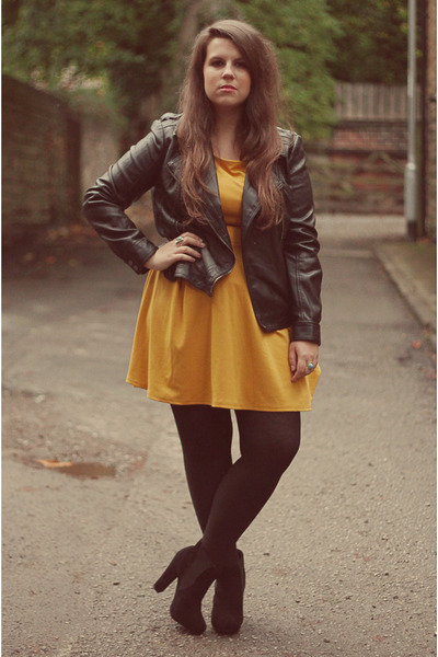 gold Primark dress - black Ebay shoes - black Primark jacket