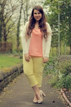 salmon Matalan top - light yellow Matalan pants - ivory Matalan cardigan