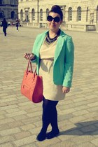 aquamarine Primark blazer - beige H&M dress - salmon Primark bag