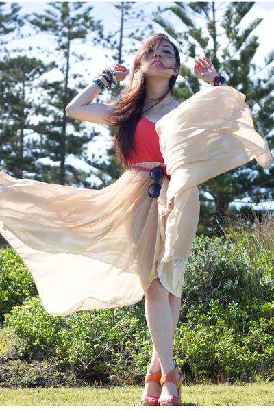 eggshell maxi unknown skirt - salmon unknown top - tan Nine West heels