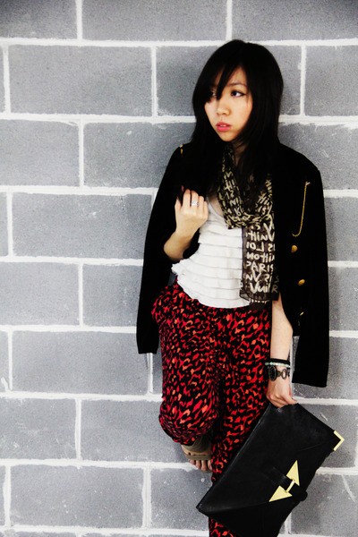 light brown Louis Vuitton scarf - asos bag - ruby red H&M pants