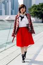 red We-ar-ablecom skirt - ruby red tweed AZUL by Moussy Japan blazer