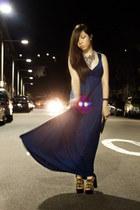 blue Forever21 dress - black Prada purse - pony tail Jeffrey Campbell heels