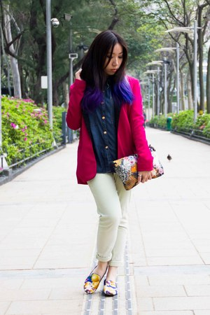 light yellow Forever21 jeans - hot pink Zara blazer