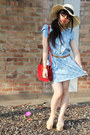 Periwinkle-kitty-print-random-dress-asos-hat-ruby-red-random-bag