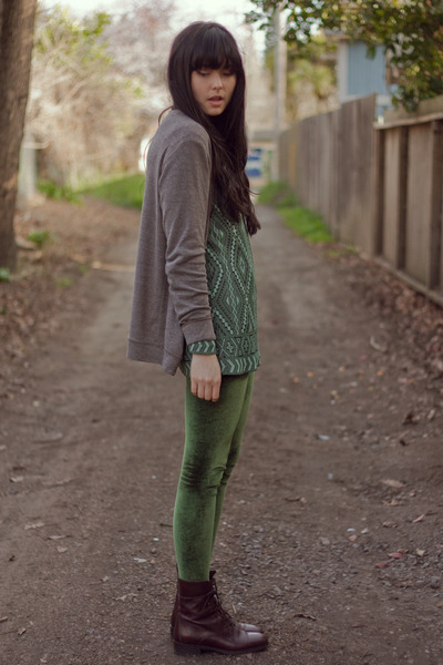 velvet American Apparel leggings - gusseted boots madewell boots - sweater