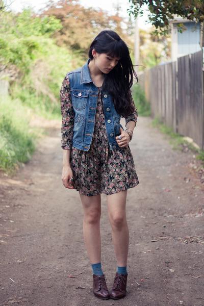 diy Levis vest - vintage boots - vintage dress