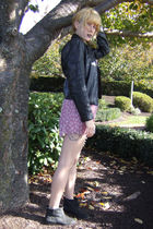 black vintage jacket - pink vintage dress - beige DKNY stockings - black Modern