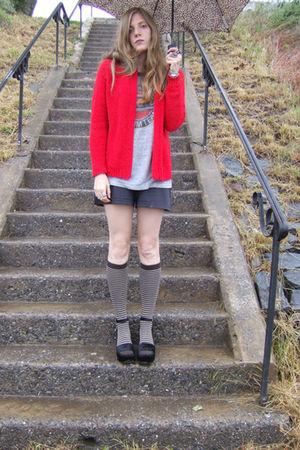red Fully Fashioned Society cardigan - gray vintage t-shirt - black shorts - bla