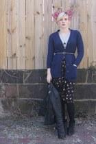 black Modern Vintage boots - black vintage jacket - Esprit shirt - vintage skirt