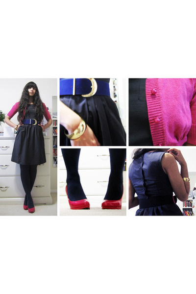 navy a-line dress H&M dress - hot pink Kersh cardigan - blue Forever 21 belt