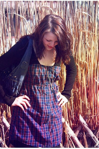 violet plaid dress