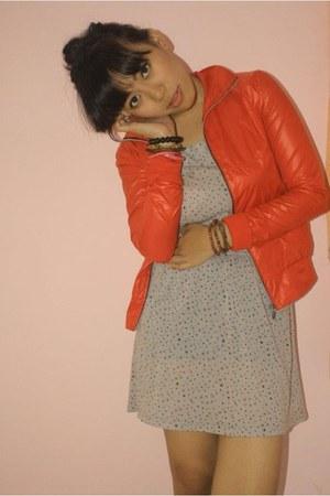 red unknown brand jacket - polkadot Gaudi dress - unbranded bracelet