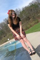 red Forever 21 accessories - red Macys skirt - black bought at Pangea shoes