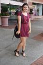 Maroon-mimi-chica-dress-black-gojane-bag-black-gojane-sandals