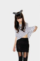 white striped t-shirt - black rosette skirt - black suspender stockings