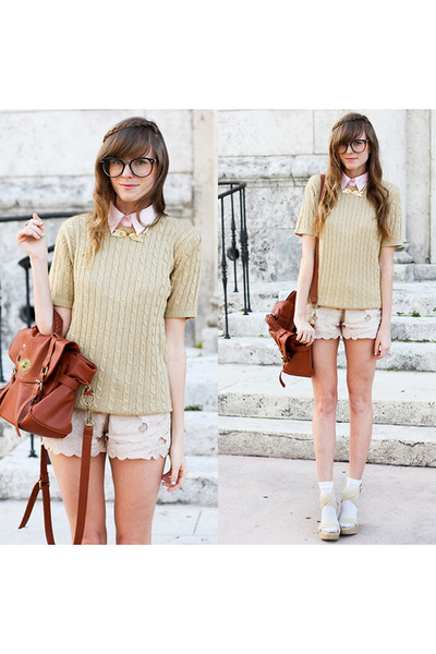 camel knitted leisure style top