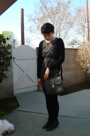 black vintage boots - black vintage Coach purse - gray Gossip dress - black H&amp;M 