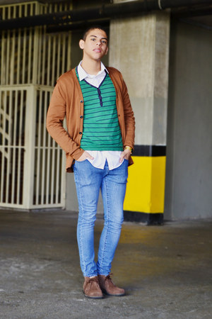 green Bershka sweater - dark brown Hugo Boss boots - blue H&M jeans