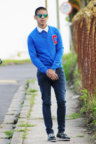 navy H&M jeans - black Foreva shoes - blue Primark sweater - white H&M shirt