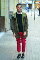 olive green jacket - dark brown shoes - white H&M shirt - ruby red Primark pants